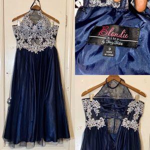 Blondie Nites by Stacy Sklar Navy Blue Prom Dress